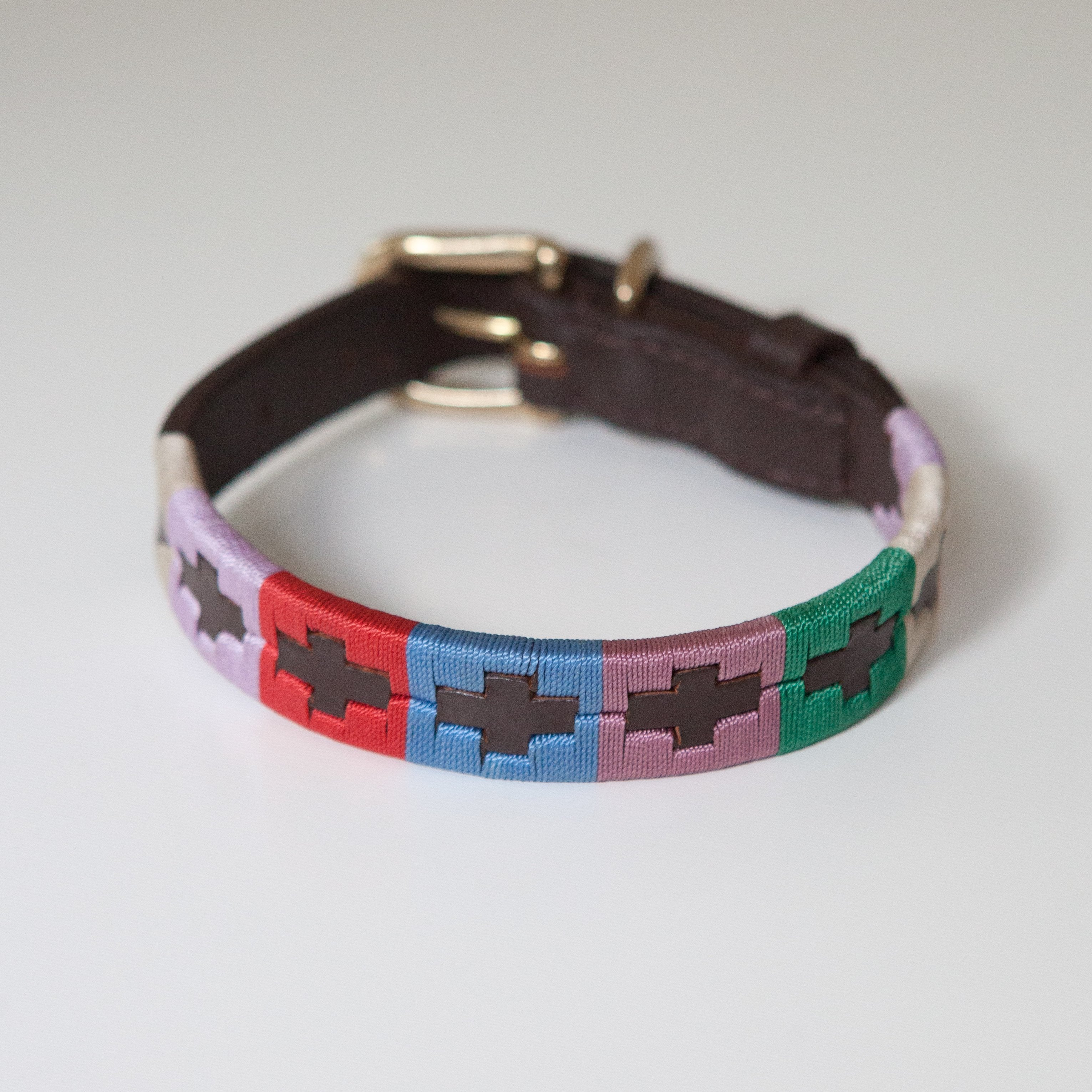 Good Dog Ruby Collar in brown leather pink blue red green cream in small medium size