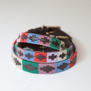 Good Dog Ruby Collar in brown leather pink blue red green cream small medium large dog
