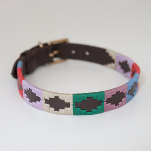 Good Dog Ruby Collar in brown leather pink blue red green cream in large size