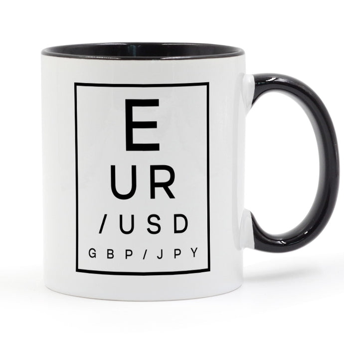 Forex Eye Exam Chart Coffee Mug Ceramic Cup Color Handle Colour Inside Gifts 11oz GA1214