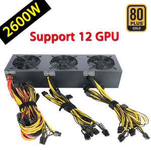 2600W 12 GPU Modular 80 Plus Gold Power Supply For Ethereum Bitcoin Mining Miner