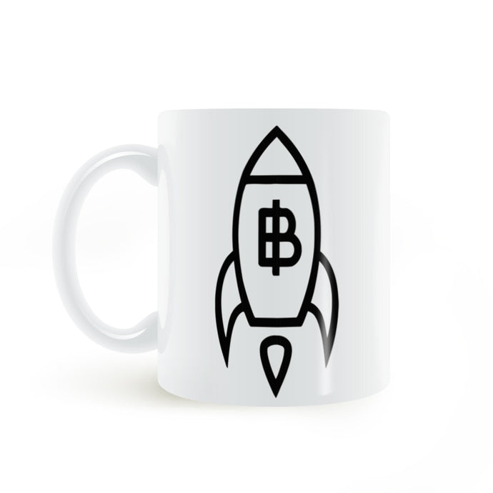 Bitcoin Rising by Rocket Mug Coffee Milk Ceramic Cup Creative Gifts 11oz GA1325