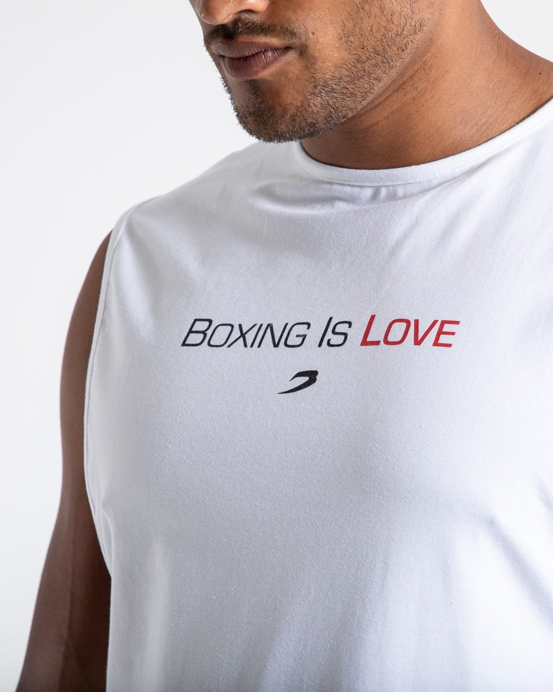 BOXING IS LOVE MUSCLE TANK - WHITE.