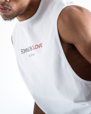 BOXING IS LOVE MUSCLE TANK - WHITE - Pandemic Fight Gear Inc.
