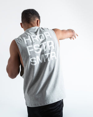 HRDR FSTR SMTR MUSCLE TANK - GREY - Pandemic Fight Gear Inc.