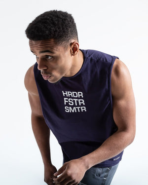HRDR FSTR SMTR MUSCLE TANK - NAVY - Pandemic Fight Gear Inc.