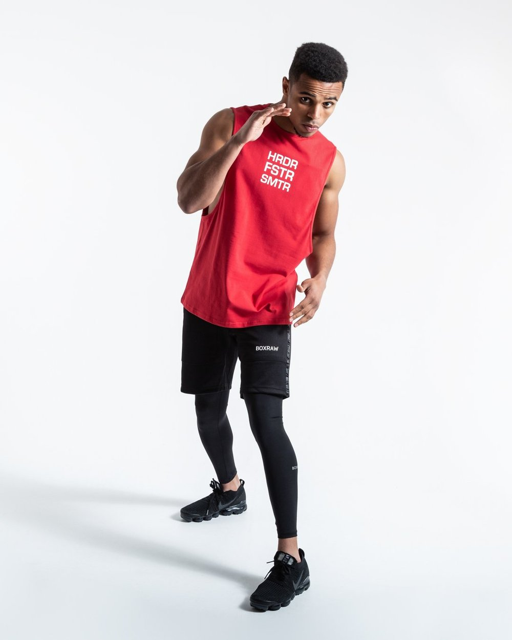 HRDR FSTR SMTR MUSCLE TANK - RED - Pandemic Fight Gear Inc.