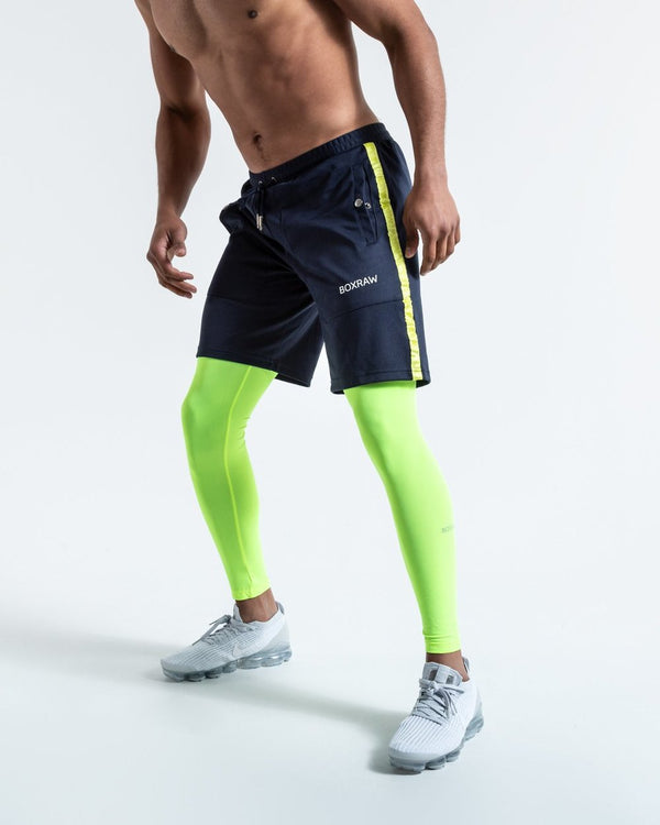 OG LOMA PEP SHORTS (2-IN-1 TRAINING TIGHTS) - NAVY/YELLOW