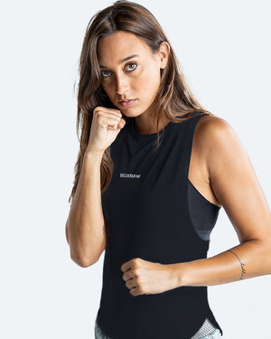 WOMEN'S LUCIA MUSCLE TANK - BLACK - Pandemic Fight Gear Inc.