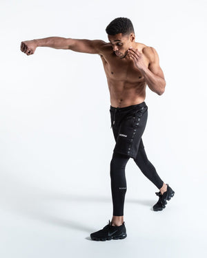 OG PEP SHORTS (2-IN-1 TRAINING TIGHTS) BLACK - Pandemic Fight Gear Inc.