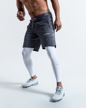 OG PEP SHORTS (2-IN-1 TRAINING TIGHTS) GREY - Pandemic Fight Gear Inc.