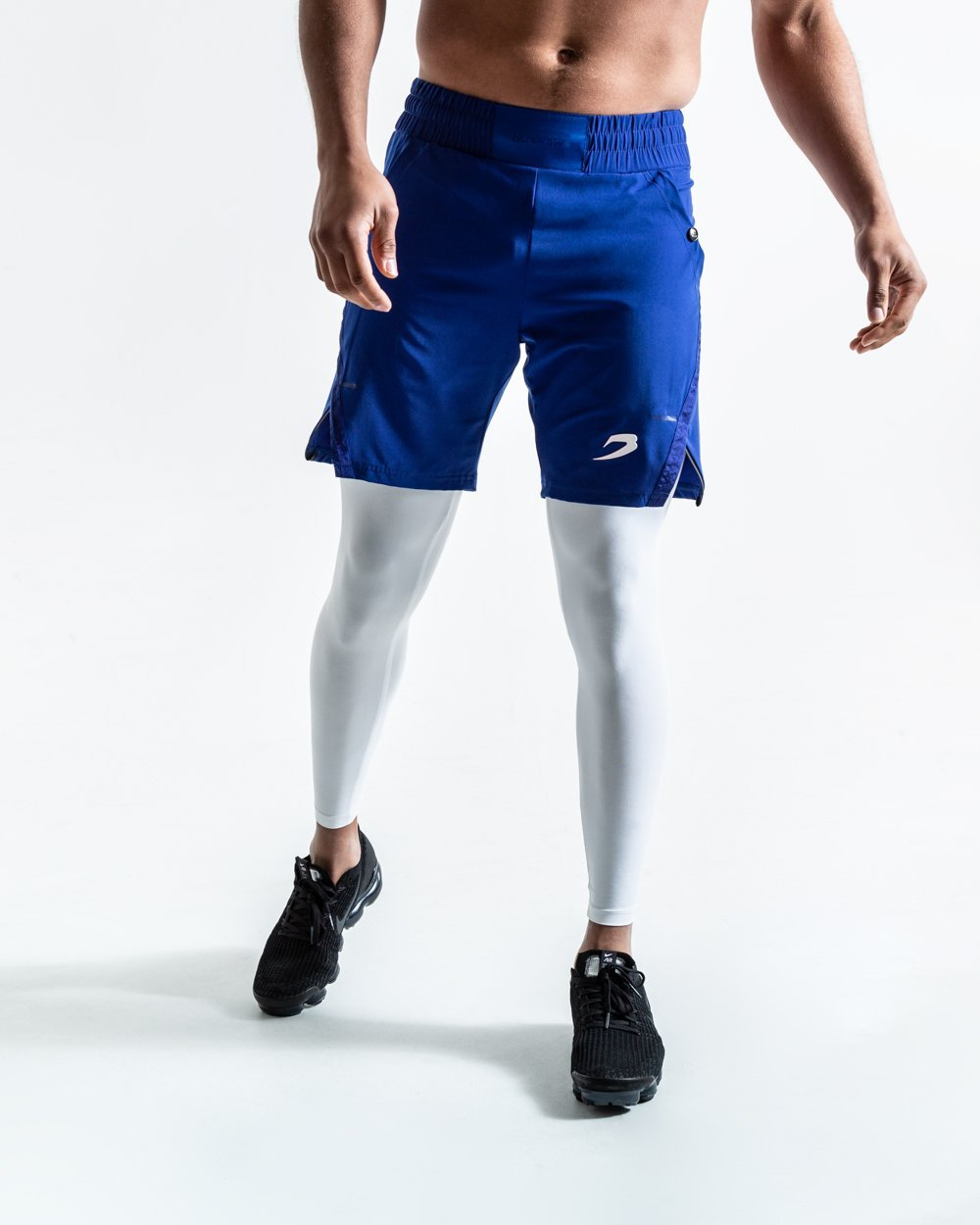 PEP SHORTS (2-IN-1 TRAINING TIGHTS) - BLUE - Pandemic Fight Gear Inc.