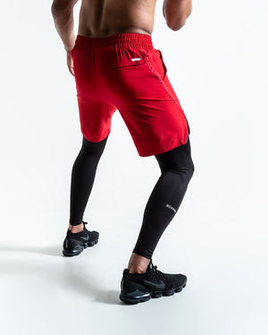 PEP SHORTS (2-IN-1 TRAINING TIGHTS) - RED