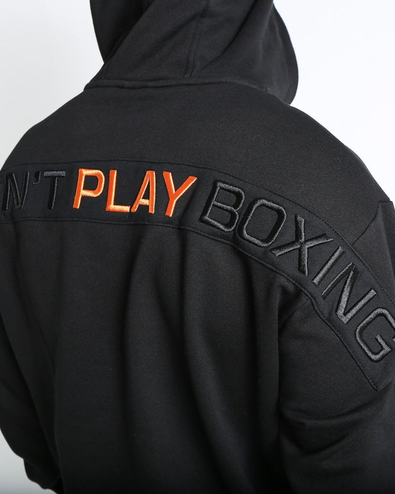 WE DON'T PLAY BOXING UNISEX HOODIE - BLACK.