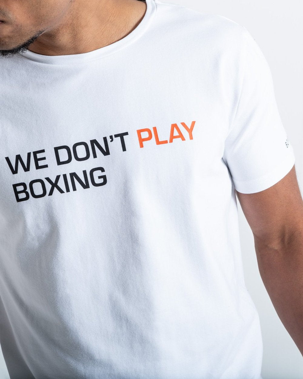 WE DON'T PLAY BOXING T-SHIRT - WHITE - Pandemic Fight Gear Inc.