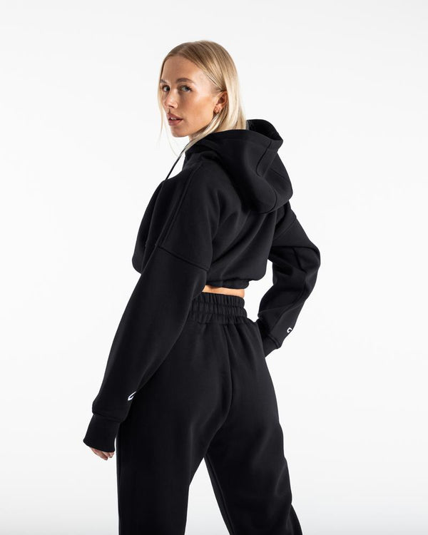 JOHNSON CROPPED HOODIE - BLACK.