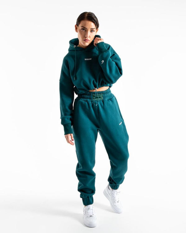 JOHNSON CROPPED HOODIE - TEAL.