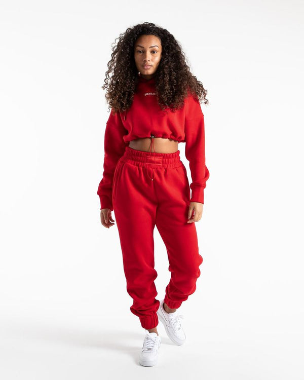 JOHNSON CROPPED HOODIE - RED.