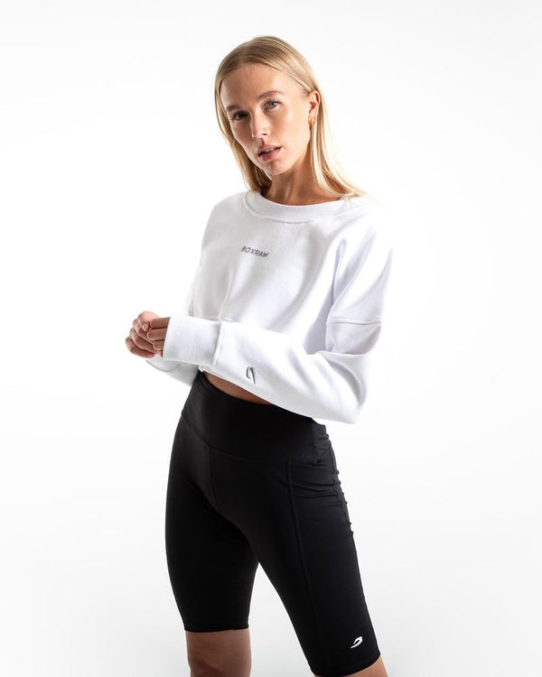 JOHNSON CROPPED SWEATSHIRT - WHITE.