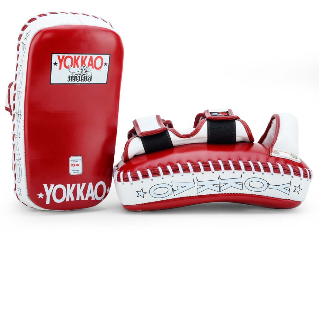 YOKKAO CURVED KICKING PADS BIKING RED/WHITE