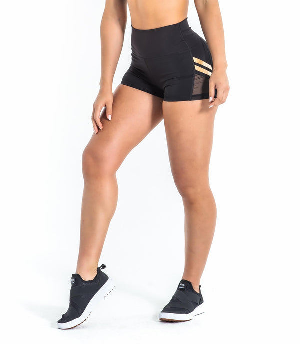 HIGH RISE BOX SHORT- BLACK/GOLD.