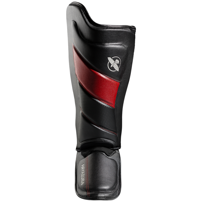 HAYABUSA T3 STRIKING SHIN GUARDS - BLACK/RED.