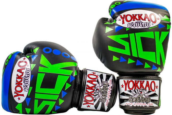 SICK MUAY THAI BOXING GLOVES BLUE/GREEN - Pandemic Fight Gear Inc.