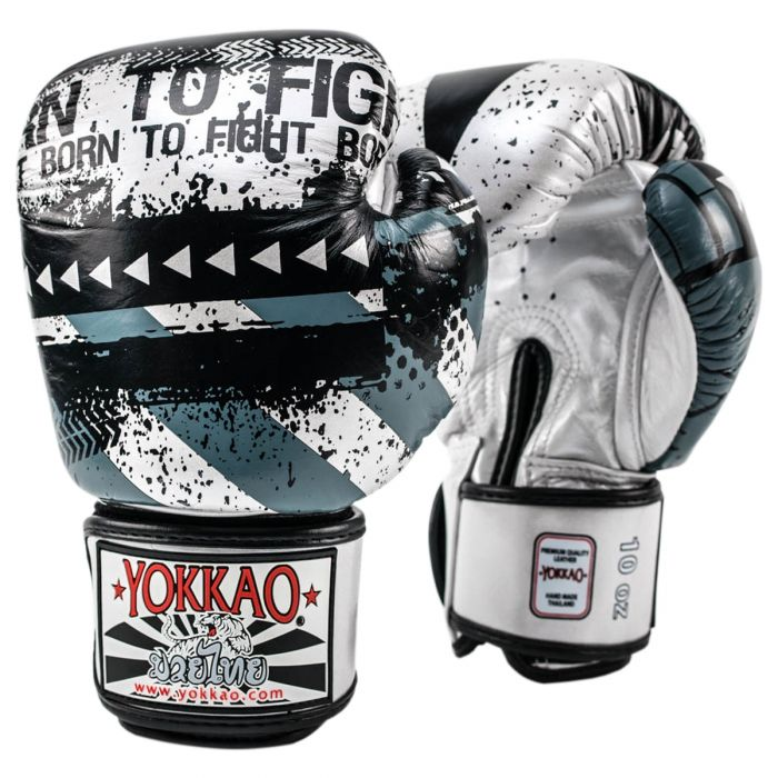 HUSTLE SILVER/BLACK MUAY THAI GLOVES - Pandemic Fight Gear Inc.