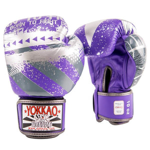 HUSTLE VIOLET/SILVER MUAY THAI GLOVES - Pandemic Fight Gear Inc.