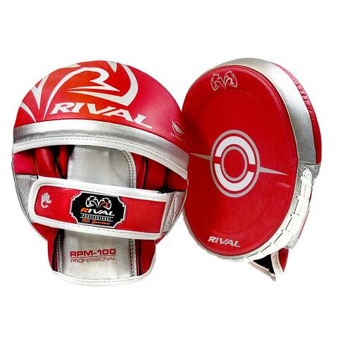 RIVAL RPM100 PROFESSIONAL PUNCH MITTS - RED/SILVER