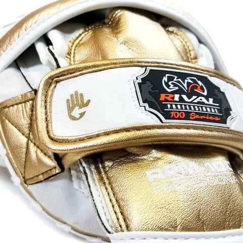 RIVAL RPM100 PROFESSIONAL PUNCH MITTS - WHITE/GOLD