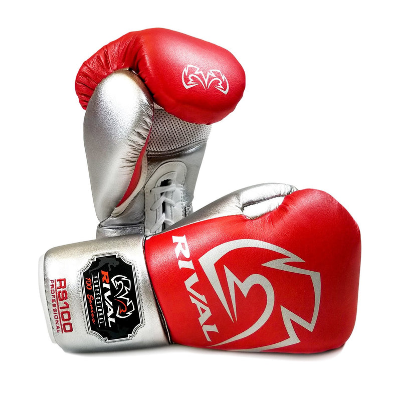 RIVAL RS100 PROFESSIONAL SPARRING GLOVES - RED/SILVER.