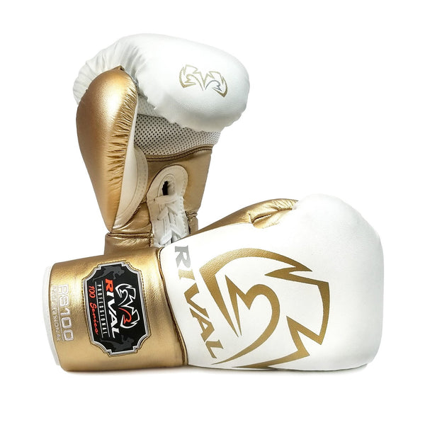 RIVAL RS100 PROFESSIONAL SPARRING GLOVES - WHITE/GOLD