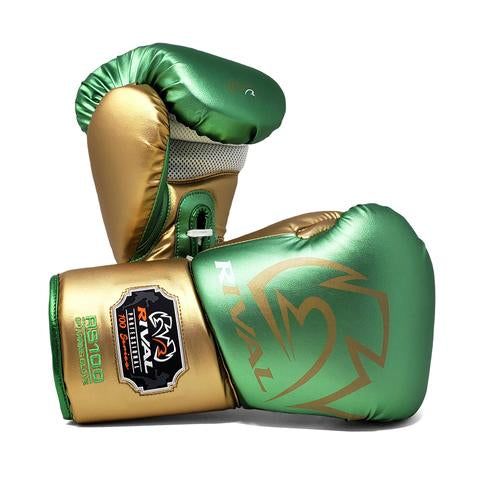 RIVAL RS100 PROFESSIONAL SPARRING GLOVES - GREEN/GOLD.