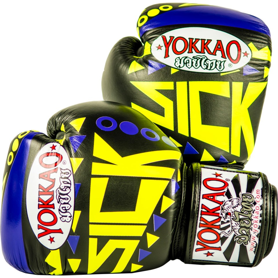 SICK MUAY THAI BOXING GLOVES VIOLET/YELLOW - Pandemic Fight Gear Inc.