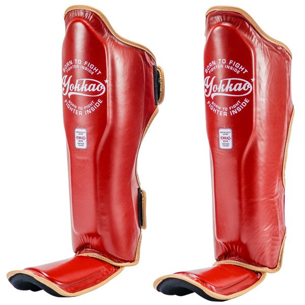 YOKKAO VINTAGE RED SHIN GUARDS - Pandemic Fight Gear Inc.
