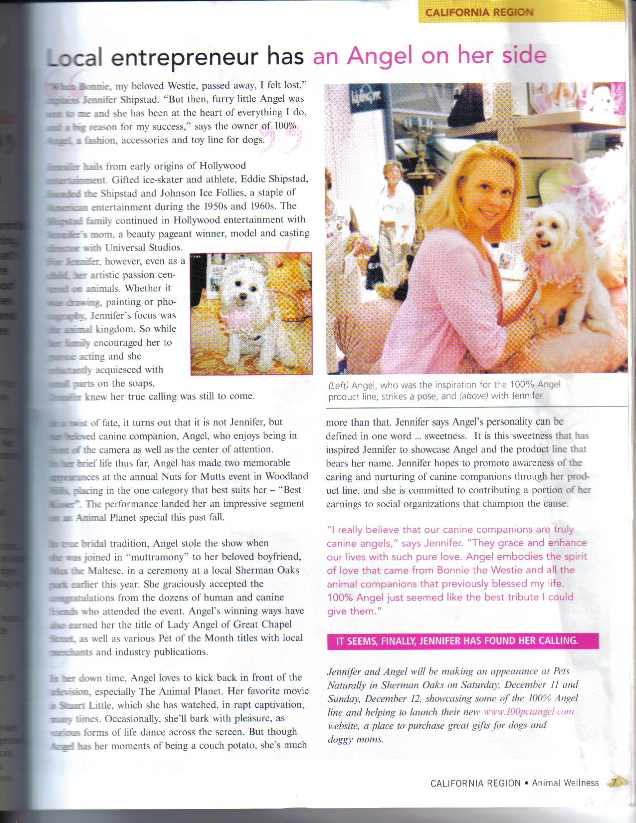 100% Angel Featured in Animal Wellness Magazine