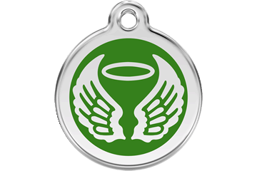 Green Angel Wings and Halo Stainless Steel Dog ID Tag