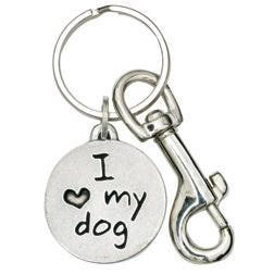 Pewter Paw Keychain - I Love My Dog/Red