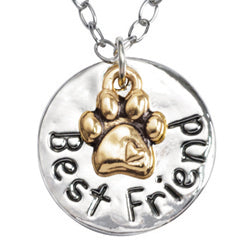 Best Friend Paw Circle Necklace - Engraveable