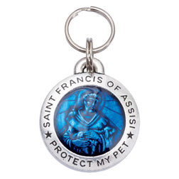 St Francis Pet ID Tag - Blue