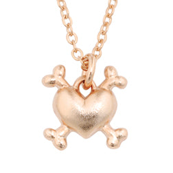Dog Charm Necklace - Heart Crossbones