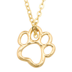 Dog Charm Necklace - Cut-Out Paw - Bracelet Also Available
