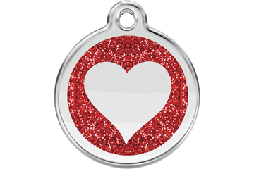 Glitter Heart Enamel Pet ID Tags in 7 Colors