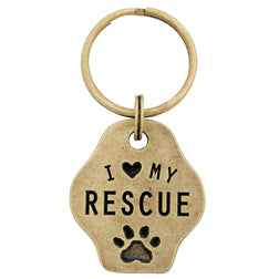 I Love My Rescue Paw Keychain