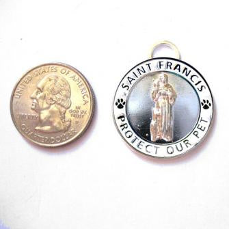 St Francis Pet Medal Silver & White - Large