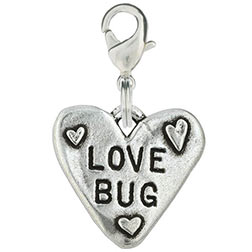 Pewter Hand Stamped Dog Charm - Love Bug Heart