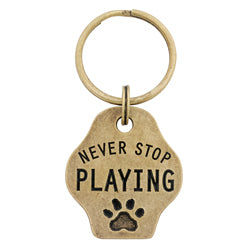 Never Stop Playing Paw Keychain