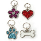 Flower, Paw, Heart or Bone Glitter Pet Charm