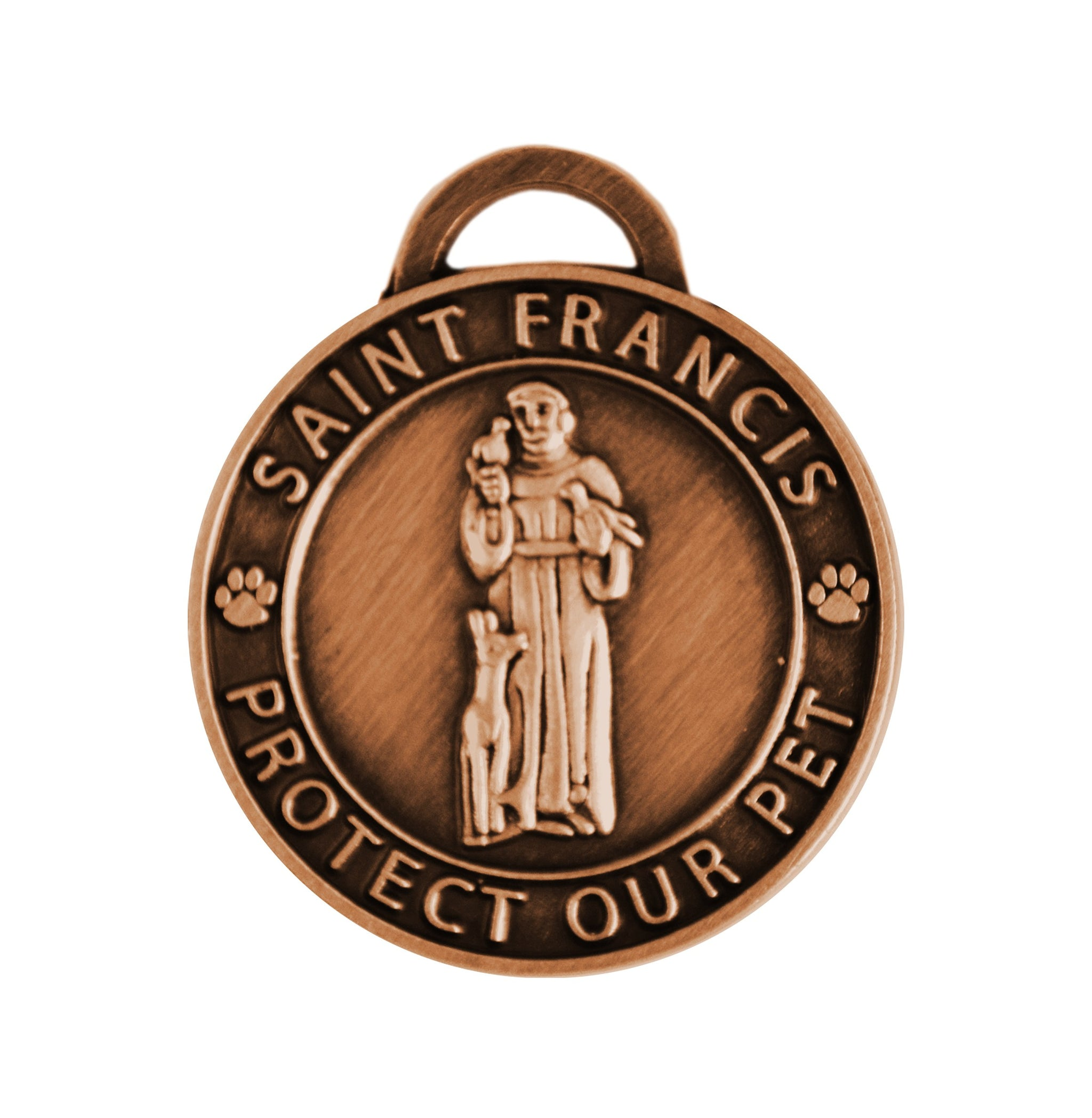 St Francis Pet Charm Antique Copper Tone